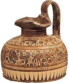 Black-figure trefoil-mouth amphora with lid From Corinth.    Corinthian workshop. In the manner of Dodwell Painter. 600-575 B.C.