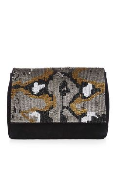 Leather Snake Sequin Clutch