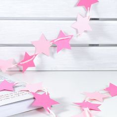 Pink Stars Bunting Garland Banner Pink Stars Bunting Garland Banner for home, room, office, party, circus, birthday, baby girl, girls room, newborn, baptism, 1st birthday, wedding, holidays.. by 21january on Etsy