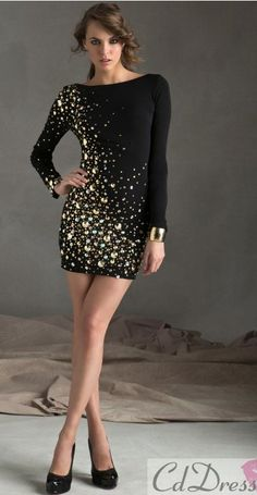 d20d886d5e41b nyc Sticks   Stones by Mori Lee 9249 Sexy Jersey Black and Gold Long Sleeve  Dress