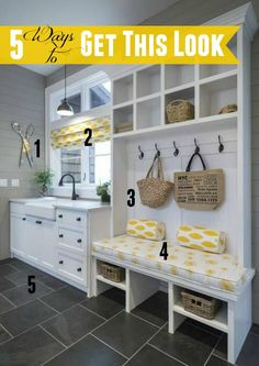 Love this yellow and gray mudroom? Check out links to five DIY home decor tutorials to help you get the look for less!