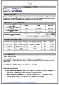 Sample Template Example of Beautiful Excellent Professional Curriculum Vitae / Resume / CV Format with career objective, Job Profile and Work Experience for Fresher's and Experienced in Word / Doc / Pdf Free Download   ~~~~ Download as many CV's for MBA, CA, CS, Engineer, Fresher, Experienced etc / Do Like us on Facebook for all Future Updates ~~~~