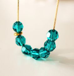 Blue Zircon Necklace Blue Wedding Jewelry Gold Bridesmaid gift Necklace Everyday Jewelry Swarovski crystal Necklace somthing blue