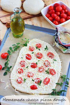 Cheese pizza with homemade pizza dough from Roxanashomebaking.com