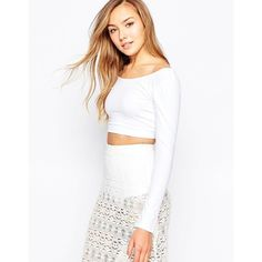 Motel Faria Crop Top ($22) ❤ liked on Polyvore featuring tops, white, cotton jersey, scoop neck top, scoopneck top, off shoulder crop top und white top