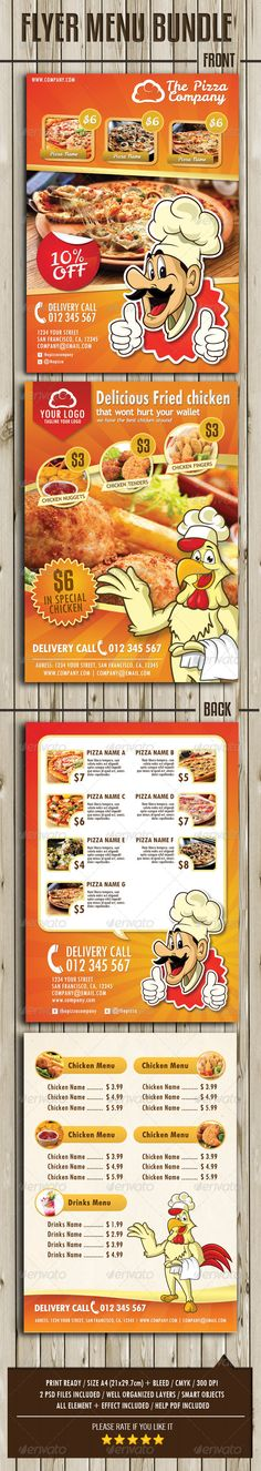 Flyer Menu Bundle This flyer menu template perfectly fit into any kind of food and beverage business, cafe, restaurant, fast food businesses, supermarket or retail shop as well.