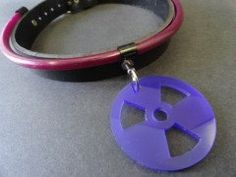 Violet Tubing & RadioActive Plate Leather Collar