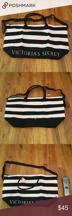 Victoria's Secret Tote Pink and black striped tote. Remote control added to show size of bag. Never used. Heavy material. Victoria's Secret Bags Totes