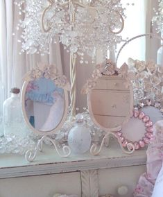 crystals, pink roses, frame, beach cottages, shabby chic
