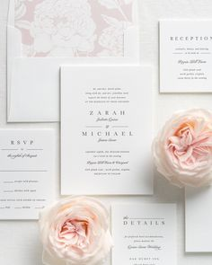 Chic and timeless wedding invitation suite. | Minimalist Wedding Invitation | White Wedding Invitations | Elegant Wedding | Wedding Stationery | Wedding Invites | #weddinginvitations #timeless #weddinginvites