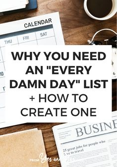 GOOD READ Looking for productivity tips or trying to stay positive? You might need an Every Damn Day List! Click through and see how this super simple tool can help you stay on track towards your goals, not matter what else is going on with your life! Planners, Day List, To Do Planner, Time Management Tips, Business Management, Life Organization, Organizing, Business Organization, Best Self