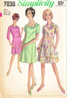 Simplicity 7030 A Fabric Bows, One Piece Dress, Square Necklines, Vintage Sewing Patterns, Pattern Making, Short Sleeves, Fandom, Dresses, Vestidos