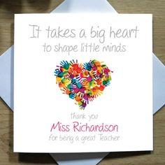 Personalised Handmade Teacher Heart Thank You Card – Mr, Mrs, Miss, School - Handlettering Geburtstag