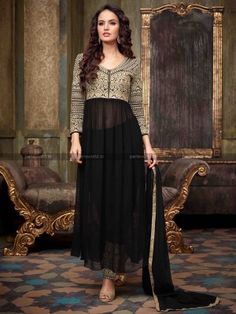 Black Georgette Glorious Anarkali Salwar Kameez  #parisworld #surat #anarkali salwar