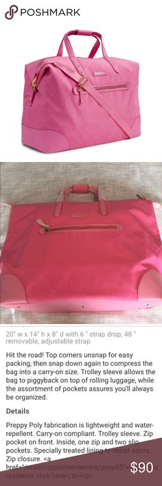 NWT Vera Preppy Poly travel duffle bag New with tags preppy Poly travel duffle bag in blossom pink.  Please see pictures for full description.  Pet/smoke free home. Vera Bradley Bags Travel Bags