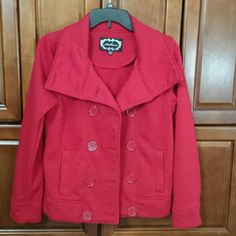 Red peacoat Lightweight red peacoat. Good condition. Has slight pilling, can be seen in last photo. Ambiance Apparel Jackets & Coats Pea Coats