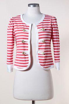 Coral Striped Jacket