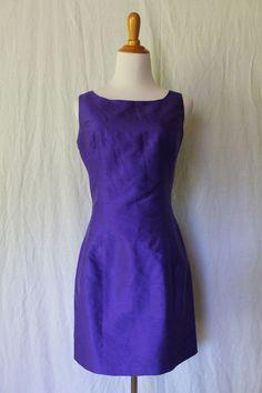 Vintage EREZ LEVY Purple Silk Shantung Classic Wiggle Sheath Dress Made in USA 8 #ErezLevy #Sheath #Cocktail