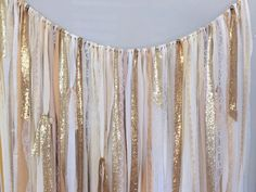 Fabric backdrop - Ribbon curtain - garland made using various shades of gold, white, cream, ivory fabric with sequin & lace Listed garland is: 5ft