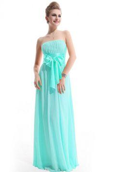 Bowknot Waist Bridesmaid Dress - Light Blue