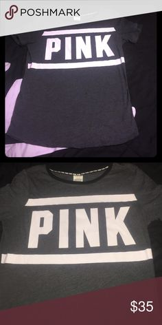 Pink t-shirt Very cute charcoal gray pink T-shirt size medium only been worn one time and great condition PINK Victoria's Secret Tops Tees - Short Sleeve