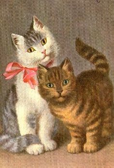 vintage cats in love