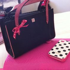 ~ Kate Spade ~ Darling black and white polka dots with pink accents!! Super girly & feminine!! NWOT!! Make it yours! kate spade Bags