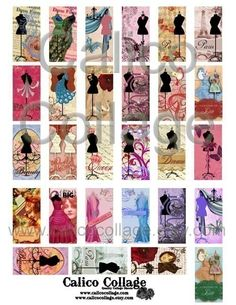 All Chic Dress Forms  Digital Collage Sheet  1x2 by calicocollage, $4.15