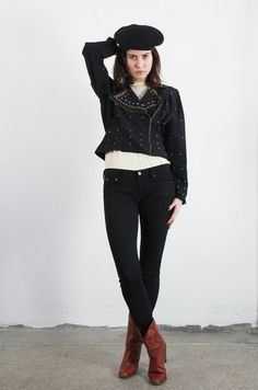 Vintage Studded Jacket . 1980s Glam by VeraVague on Etsy, $50.00