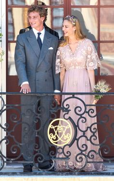 Beatrice Borromeo in a pink Valentino couture gown she wore to wed Pierre Casiraghi, grandson of Grace Kelly