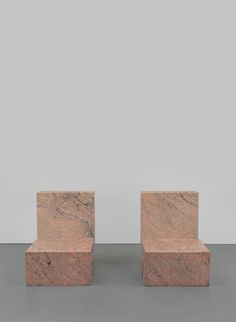 Scott Burton (1939–1989), Pair of Two Part Chairs, Obtuse Angle, 1984. Polished granite, each: 33 × 24 × 33 in. (83.8 × 61 × 83.8 cm). Whitney Museum of American Art, New York;