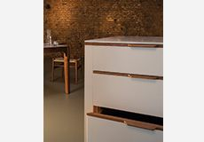 Islington Showroom Plywood Kitchen, Bespoke Kitchens, Corian, Cabinet Makers, Cladding, Filing Cabinet, Showroom, Trench, Kitchen Design