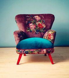Sessel Gobelin design inspiration on Fab. Funky Furniture, Vintage Furniture, Home Furniture, Furniture Ideas, Bedroom Furniture, Floral Furniture, Bohemian Furniture, Dark Furniture, Bedroom Chair