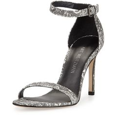 Stuart Weitzman Walkway Lizard-Embossed Ankle-Strap Sandal (1.562.235 COP) ❤ liked on Polyvore featuring shoes, sandals, open toe sandals, leather sole sandals, leather high heel sandals, high heel shoes and leather sole shoes