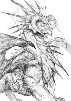 Onyxia - Fanart on Behance Creature Concept Art, Creature Design, Fantasy Creatures, Mythical Creatures, Dragon Sketch, Monster Drawing, Dragon Artwork, Fantasy Monster, Furry Art
