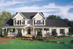 Country Style House Plan - 4 Beds 3.5 Baths 3163 Sq/Ft Plan #929-16 Exterior - Front Elevation - Houseplans.com #dwell #design #modern #country #home #architecture #residence