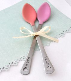 Personalized Baby Spoon SET OF TWO(2)  baby shower gift, new mom, baby feeding baby girl pink set. $14.90, via Etsy.