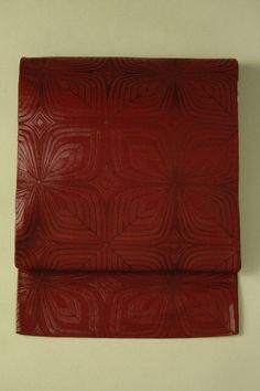 Vermilion red fukuro obi / パーシアンレッド地 幾何学柄 六通京袋帯   #Kimono #Japan http://global.rakuten.com/en/store/aiyama/