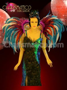 Feathered Bright Multiple Color showgirl's collar style Rio carnival backpack