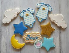 Our little star is on the way...Sweet baby shower set is the perfect final touch for your special day!Cookies are handmade and expertly decorated, just for you.Set comes with the following:-Onesies-Stars-Name Plates-Clouds-MoonsCookies measure from 3-3.25 inches each. They come individually wrapped and sealed for max freshness and protection.You may choose up to 3 colors.Please note date needed at checkout for fastest delivery