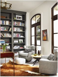 Love The Floor To Ceiling Windows White Dark Contrasting Bookshelf Living Room