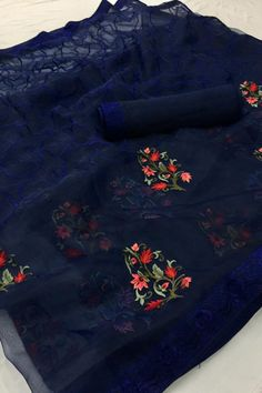 Set your off duty look abloom with this Blue Embroidered saree. Organza fabric boasts a beautifully intricate floral Embroidered work design offset. The matched unstitched blouse will go well with this Saree. Featuring a fancy branded Organza embroidered. Organza Saree, Chiffon Saree, Saree Dress, Net Saree, Georgette Sarees, Jute, Embroidery Saree, Hand Embroidery, Embroidery Designs