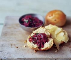 cheese & onion roll, halved and topped with Cheddar cheese and red onion marmalade Asda Recipes, Easy Bbq Recipes, Best Cake Recipes, Vegan Recipes, Cooking Recipes, Spicy Sausage, Savoury Baking, Recipe Search, Marmalade