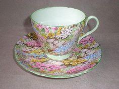 "Beautiful Shelley ""Rock Garden"" Cup & Saucer from diamondantique on Ruby Lane | Diamond Antiques | Jeff Bassett, Bellingham, WA | $75.00 USD"