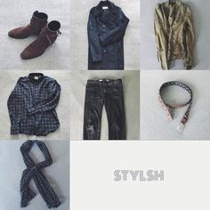 Todays #OutfitGrid . Sign up for the STYLSH iOS app Link in bio  . Footwear: brown suede boots Outerwear: black fake fur peacoat green field jacket Shirt: dark plaid Pants: black jeans Accessories: brown belt monochrome printed scarf . #fashion #fashionpost #lookoftheday  #simplefits #streetstyle #style #ootd #stylsh
