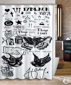 1D Harry Styles Tattoo Funny Art Shower Curtain design vintage custom gift birthdays present fashion favorites home living new hot super rare bathroom bath up