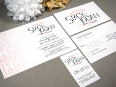 Victorian Ombre Monogram Wedding Invitation Set by RunkPockDesigns