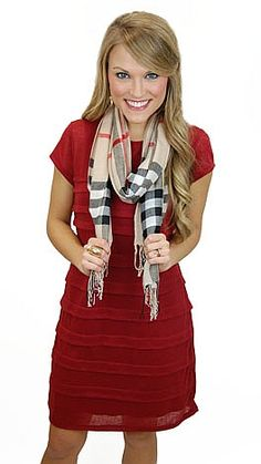 Simple knit dress with fabric folds across the front. This dress has a separate tank dress underneath for extra coverage! Pair it with a scarf and boots for a great fall outfit! Easy - comfortable - casual - cute - perfect!! $55. www.shopbluedoor.com #shopbluedoor