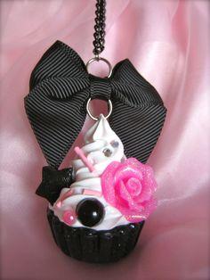 Sweet Lolita Rose Bittersweet Cupcake Necklace in Black. $10.00, via Etsy.