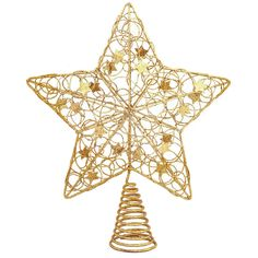 Our stunning gold wire star is the perfect topper for any tree! This shimmering gold star sits atop a metal coil base and is adorned with a swirling gold design with tiny star decorations. Lavishly co